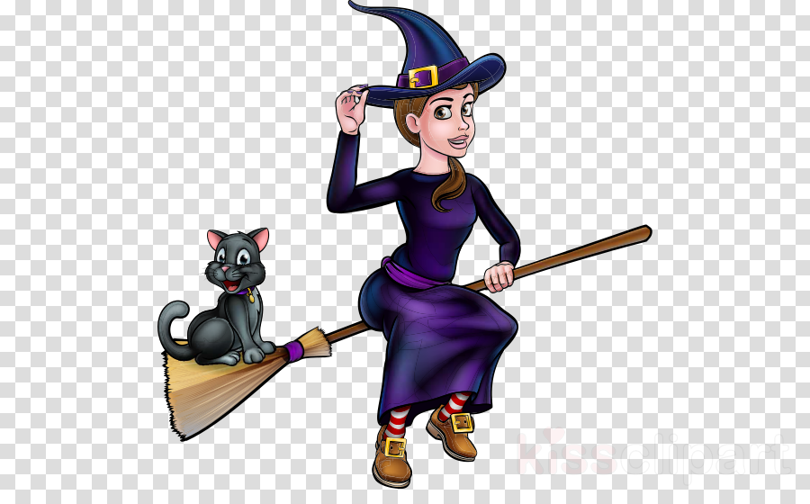 cartoon broom black cat cat magician clipart.