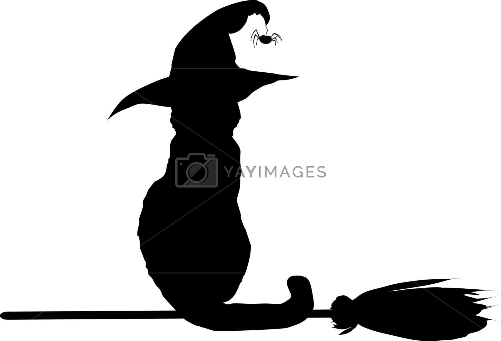 Silhouette of black cat in witch hat sitting on broomstick.