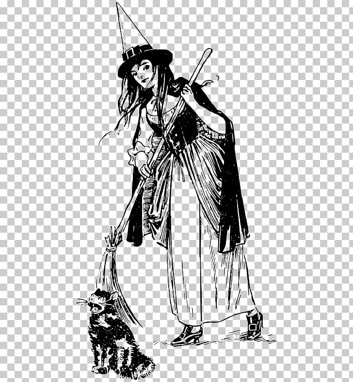 Cat Witchcraft Witch hat , witch broom PNG clipart.