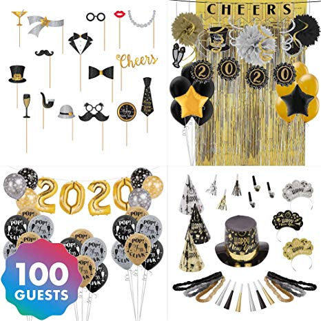 Amazon.com: Party City Super Black, Gold & Silver New Year\'s.