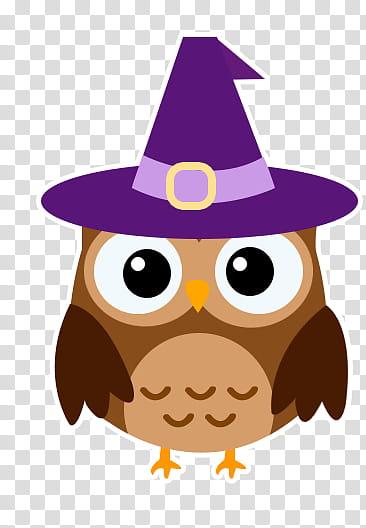 Halloween Cute s, owl wearing purple hat illustration.