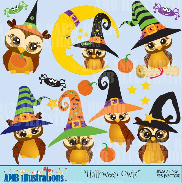 Halloween Clipart, Witch Owls clipart, Owls Clipart, Owl and.