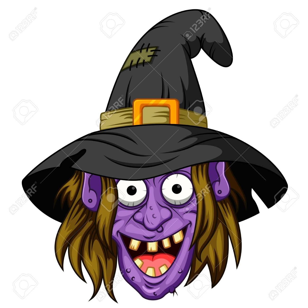 Witch head cartoon.