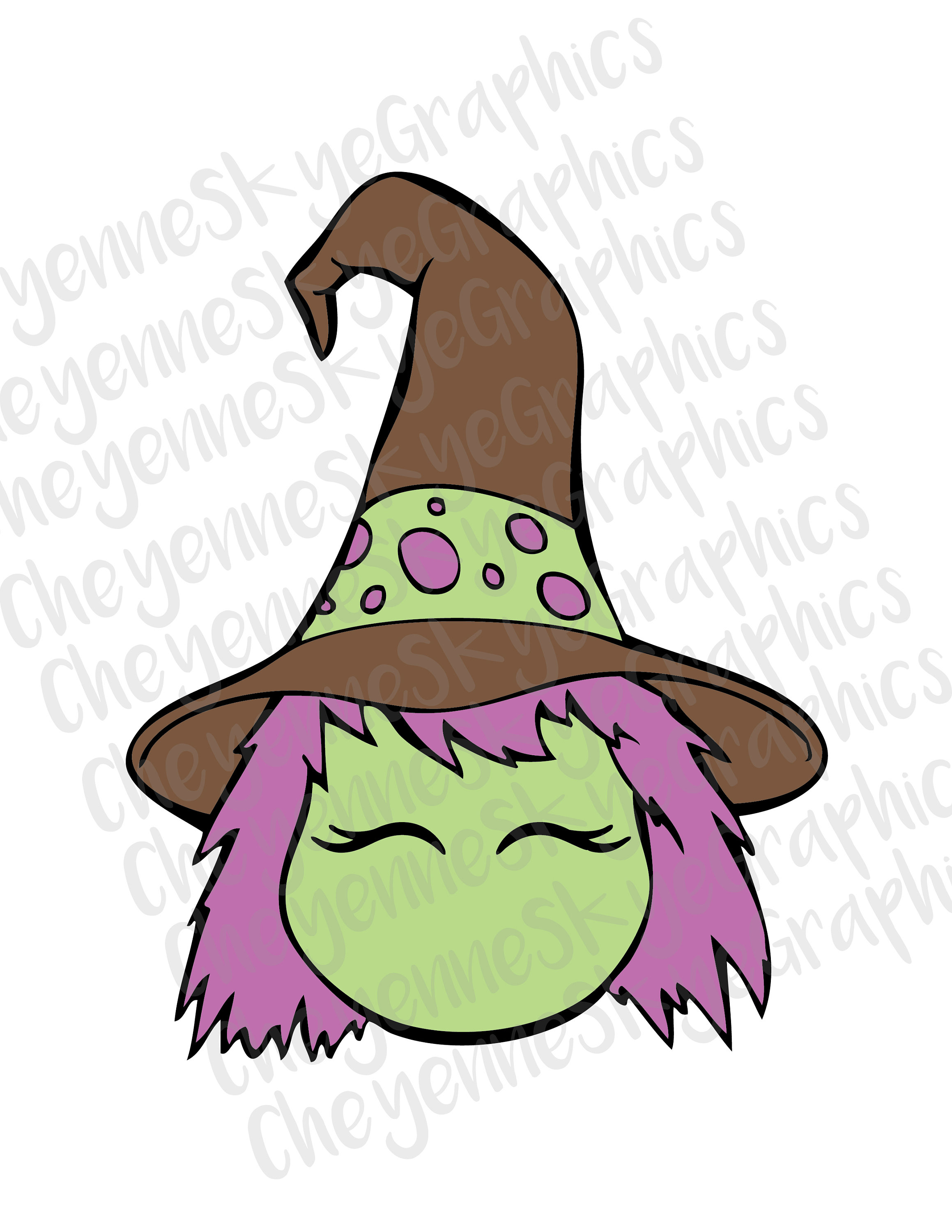 Cute Witch Head SVG, PNG, and .DXF cut and/or clipart files cricut.