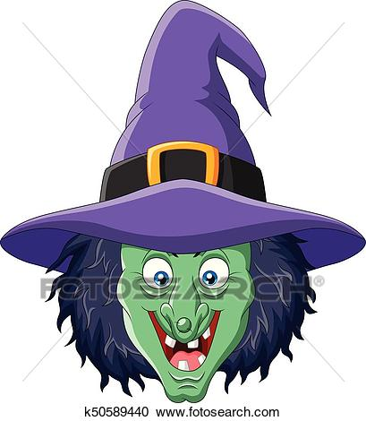Cartoon witch head isolated on white background Clipart.