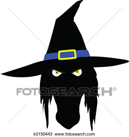 Witch head illustration Clipart.