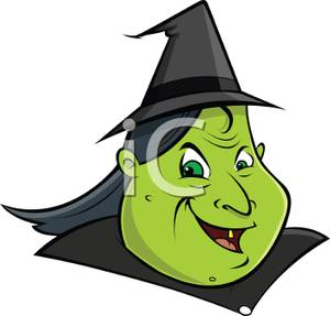 Cartoon of a Green Witches Head.