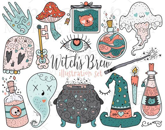 Cute Witch Clipart PNG Illustrations, Witch\'s Brew Clip Art.