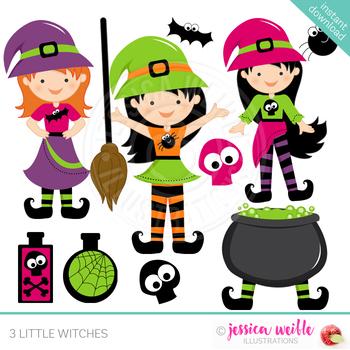 3 Little Witches Cute Digital Clipart, Halloween Clip Art.