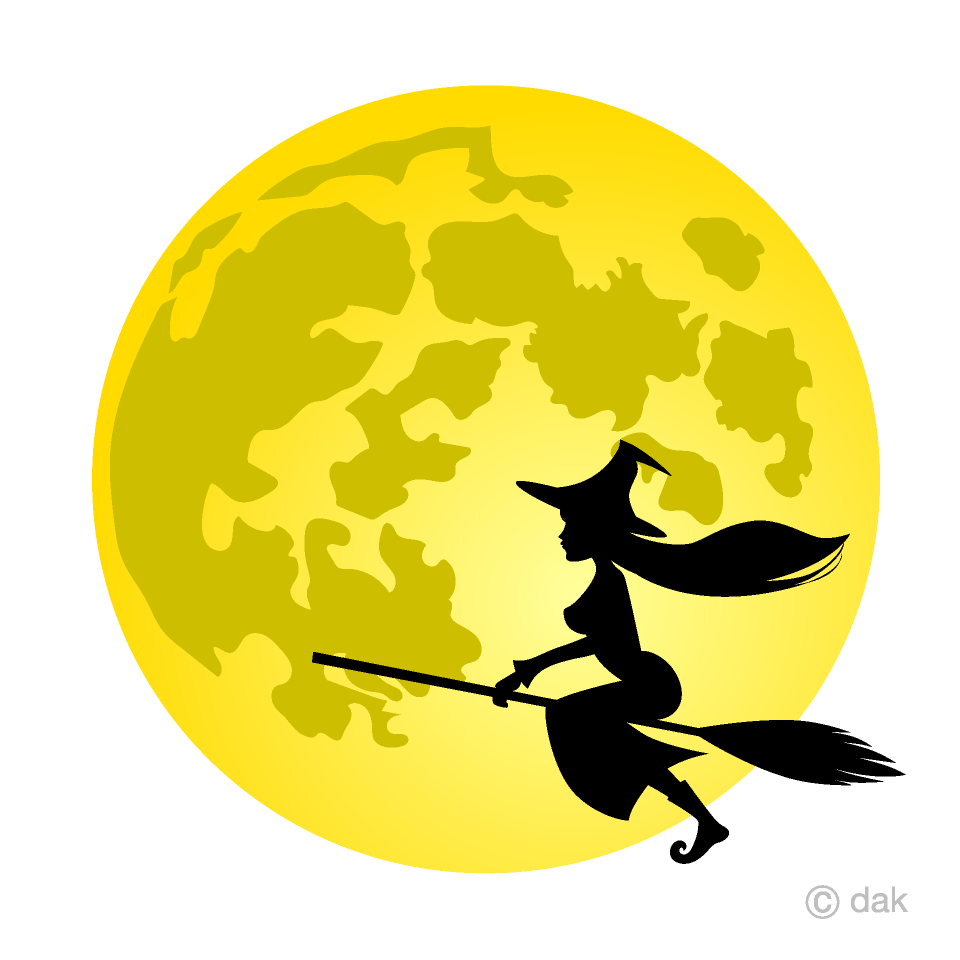 Free Full Moon and Flying Witch Clipart Image|Illustoon.