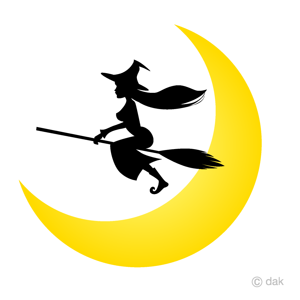 Free Flying Witch and Crescent Moon Clipart Image|Illustoon.