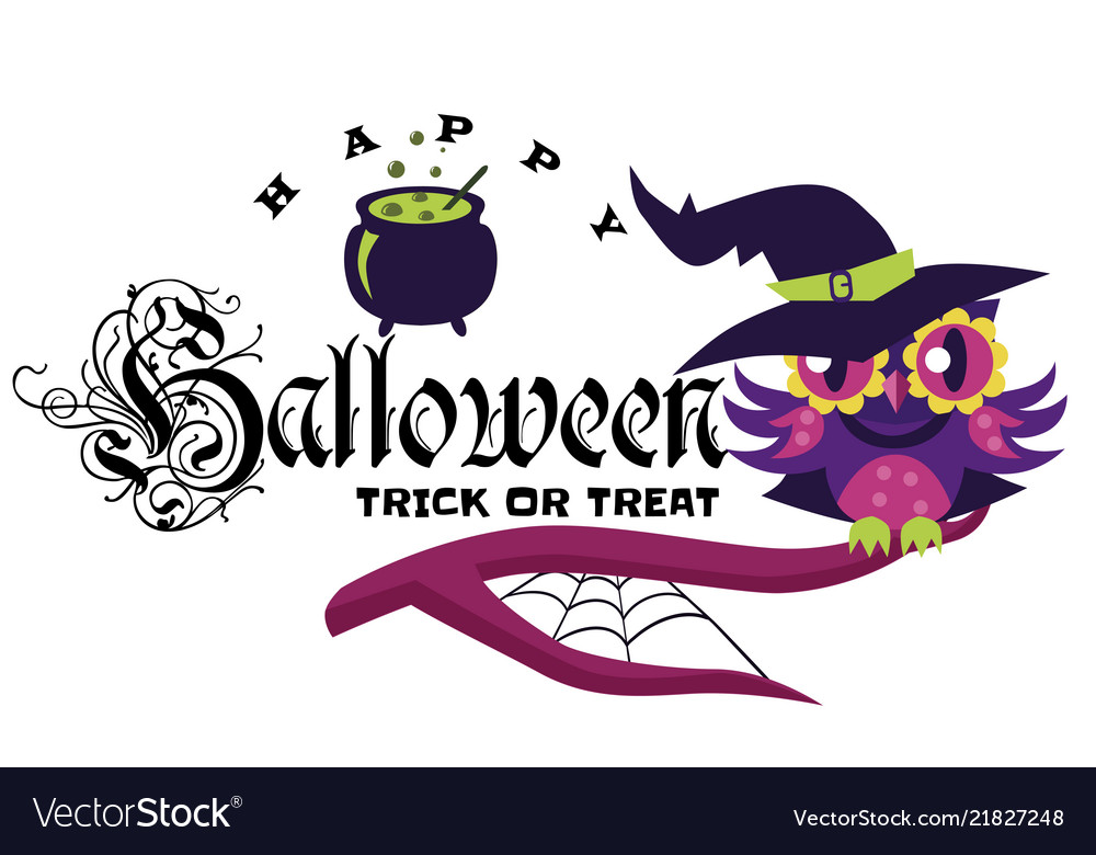 Logo owl in halloween costume of witch mystery.