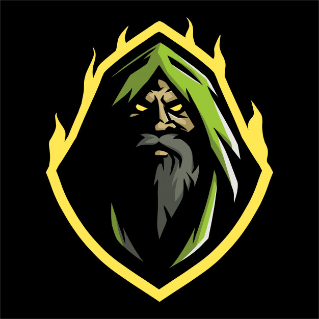 E sport logo witch in green hood and fire Vector.
