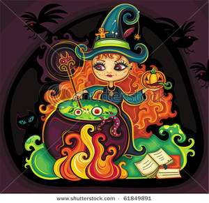 Royalty Free Clipart Image: A Witch Stirring a Green Potion.