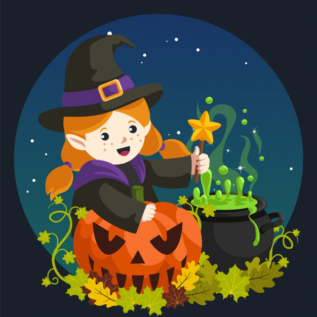 Witch making potion Vector.