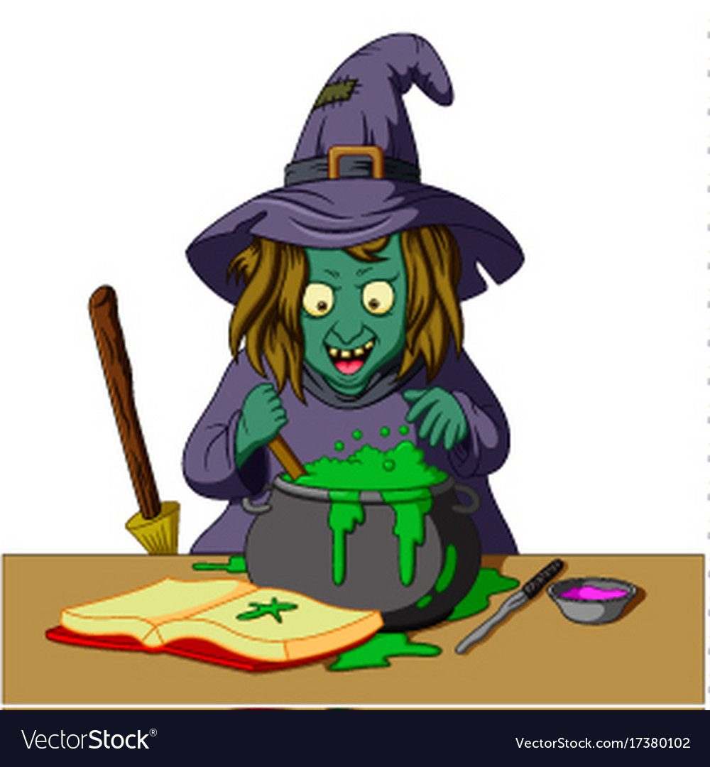 Witch preparing a potion.