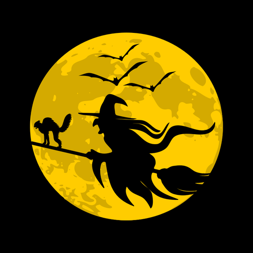 Flying Witch during full moon.