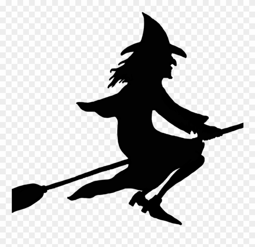Witch On Broom Clipart Witch On Broomstick Silhouette.