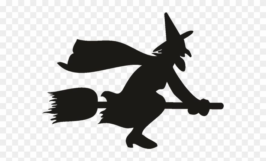 Witch On Broom Silhouette Clipart (#1600218).