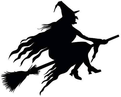 Witch On Broom Clipart.