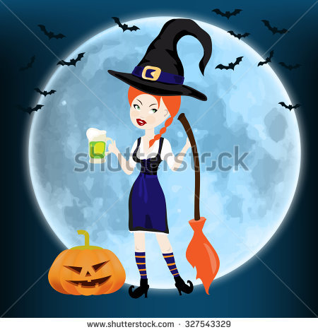 Happy Halloween Card Witch Broom Pumpkin Stock Vector 327543329.