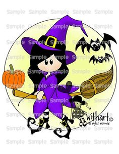 Witch moon and teddy bear Nina dolls (0292) clip art set images.