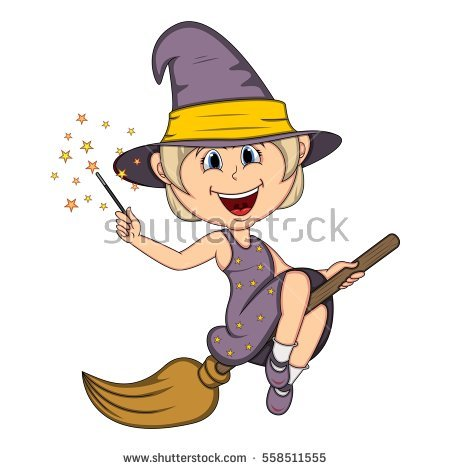Illustration Cartoon Witch Flying On Broomstick Stock Vector.