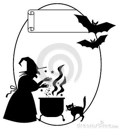 Witch Silhouette Clipart Stock Photo.
