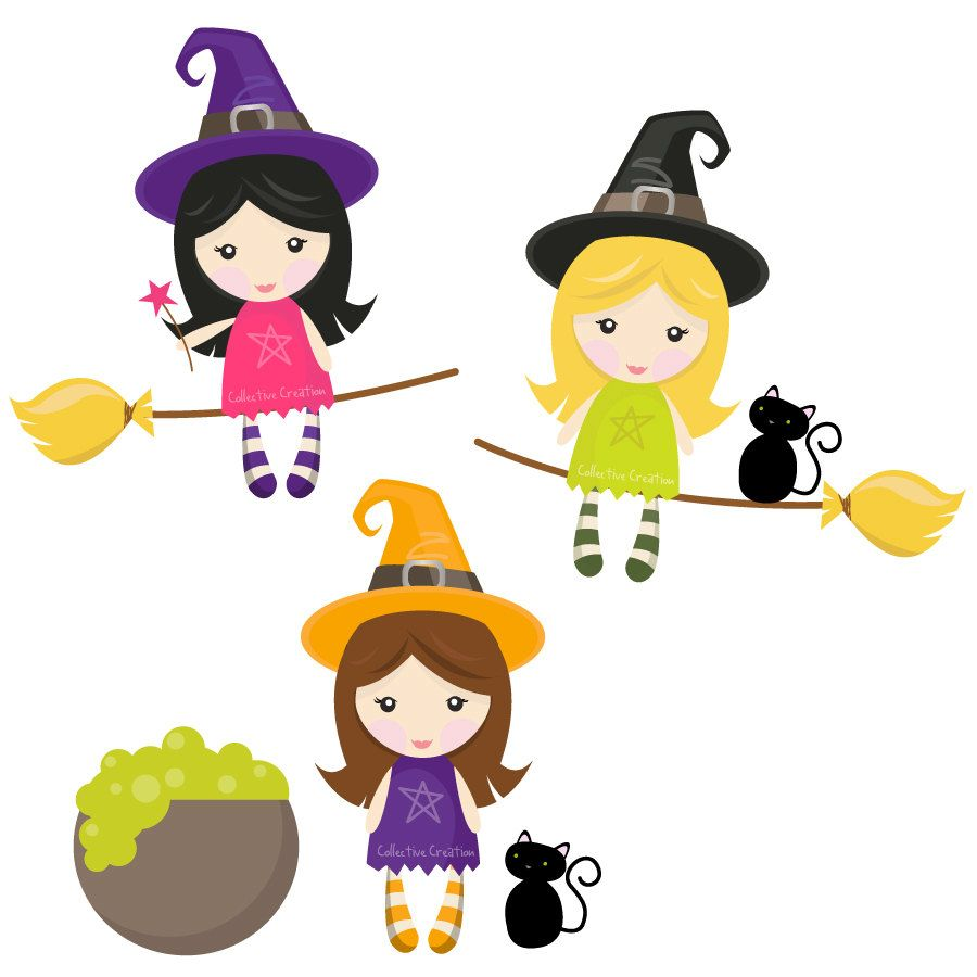 Little Witches Digital Clipart Set.