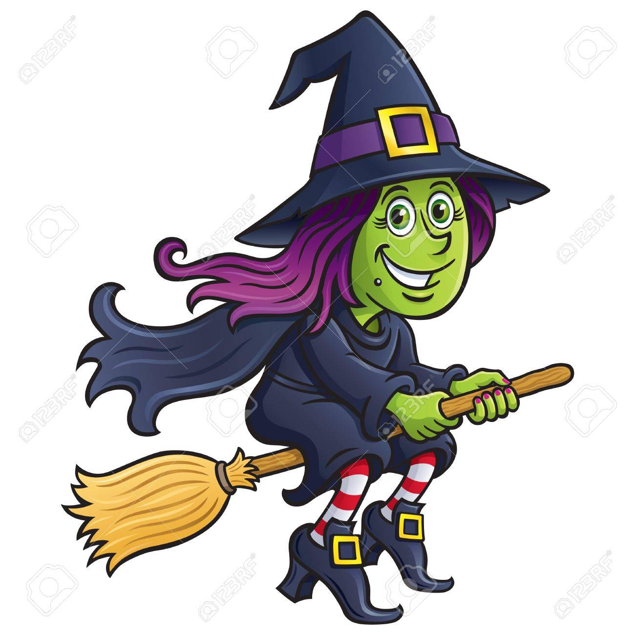 Girl Witch Riding A Broom.