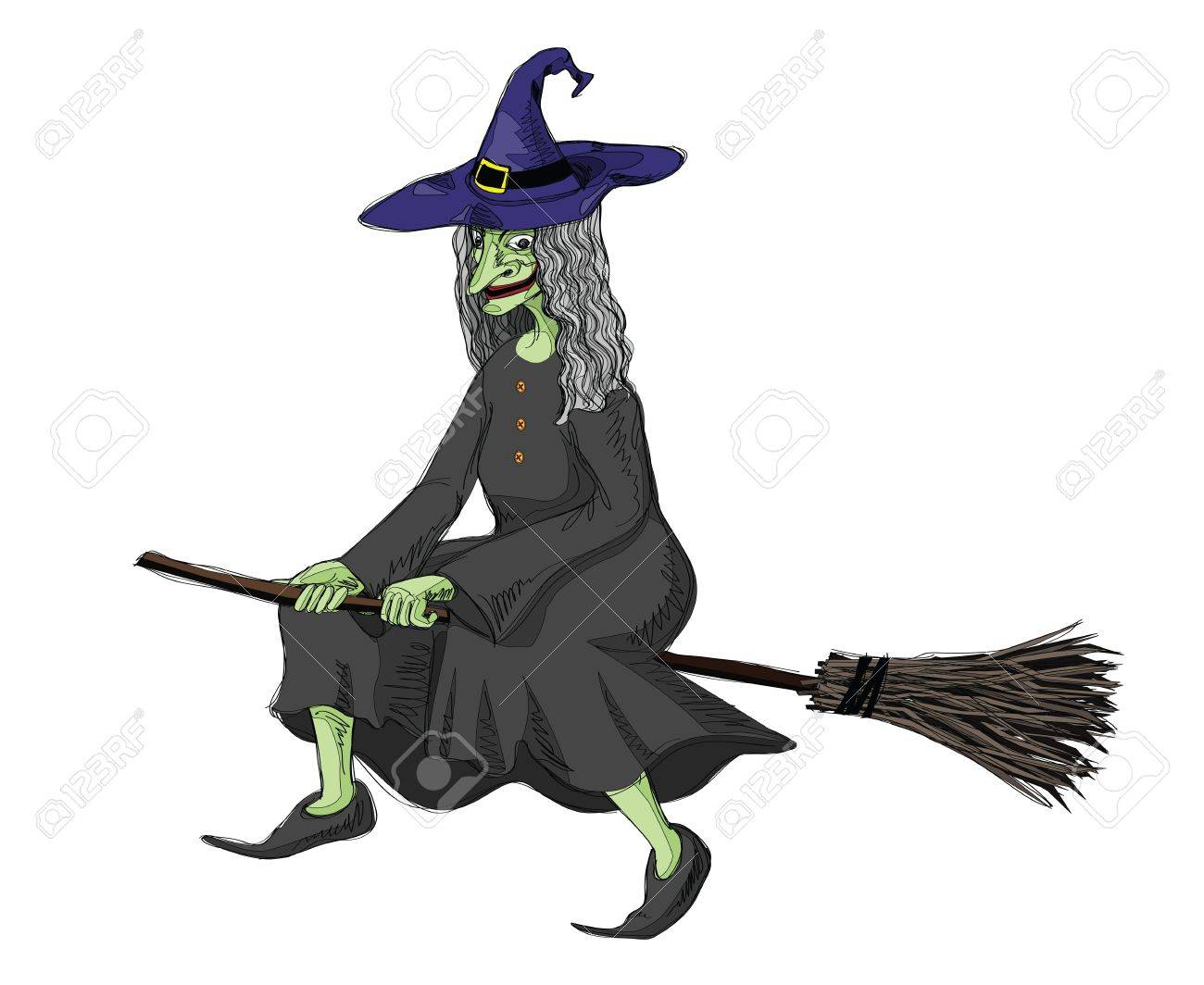 illustration of witch, riding on a broomstick..