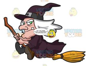 An Old Witch Riding A Broom.