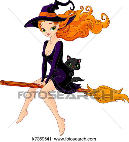 Witch riding a broom Clipart.