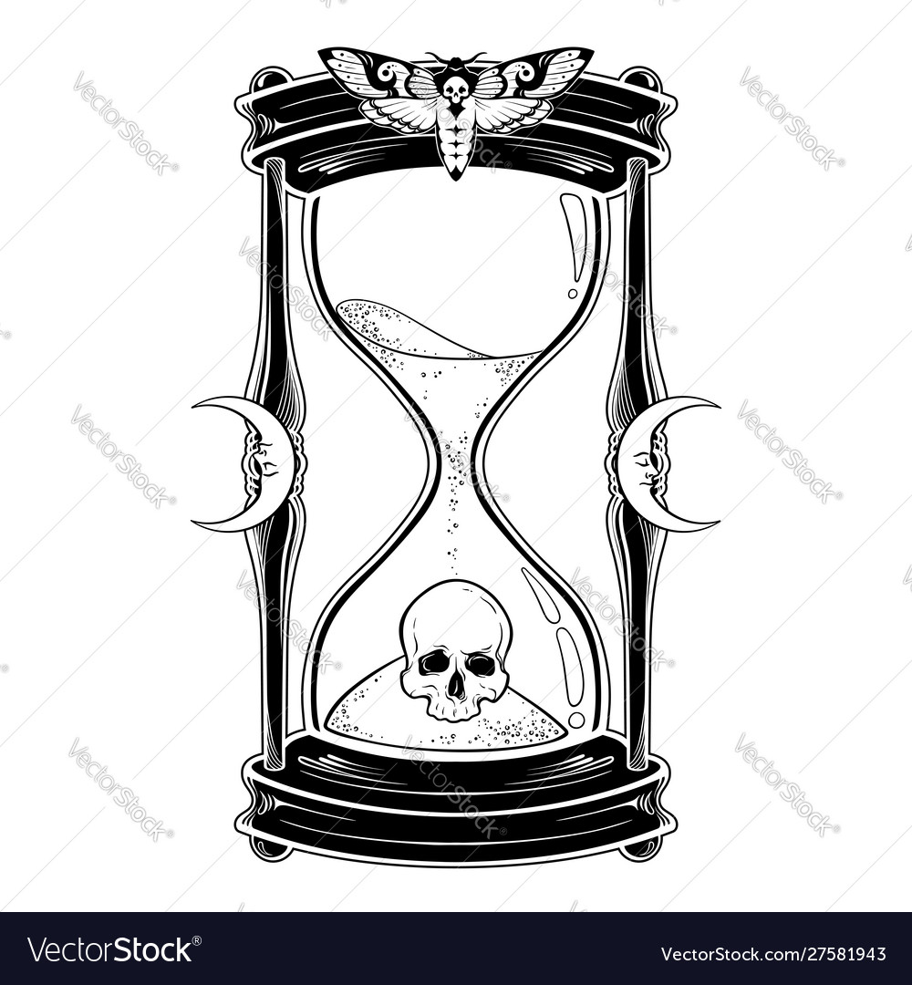 Human skull in hourglass isolated.