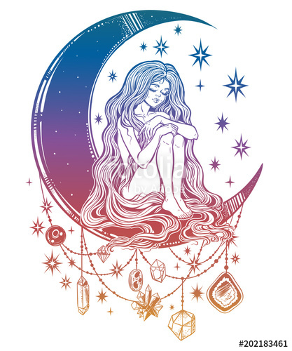 Young girl witch with long wavy hair sitting on the moon.