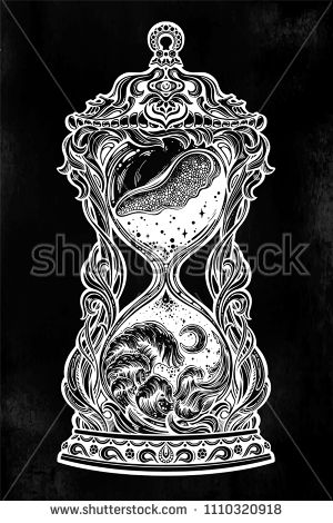 Decorative antique hourglass with waves of time illustration.