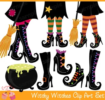 Halloween Witchy Witches Shoes Clipart Set.