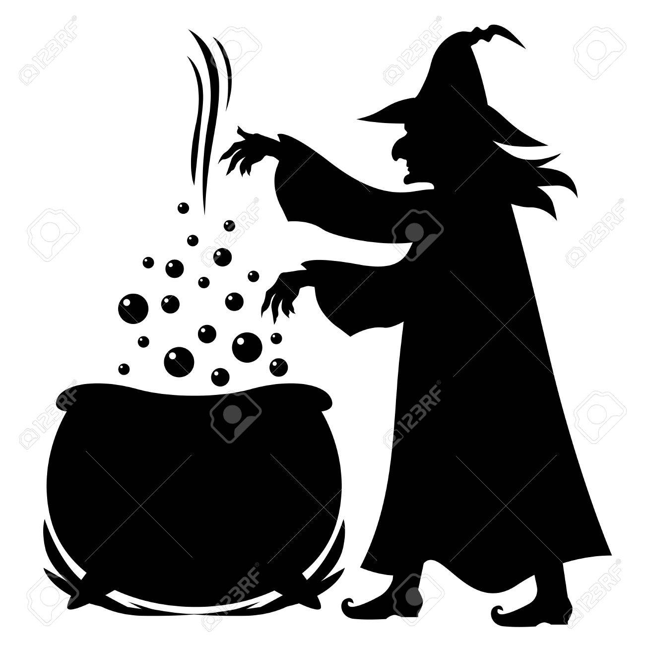 Illustrations of Halloween silhouette Witch brews potion in pot...