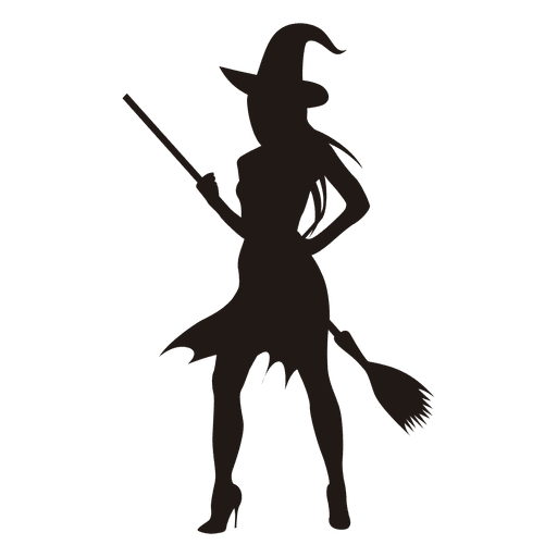 Young halloween witch silhouette.