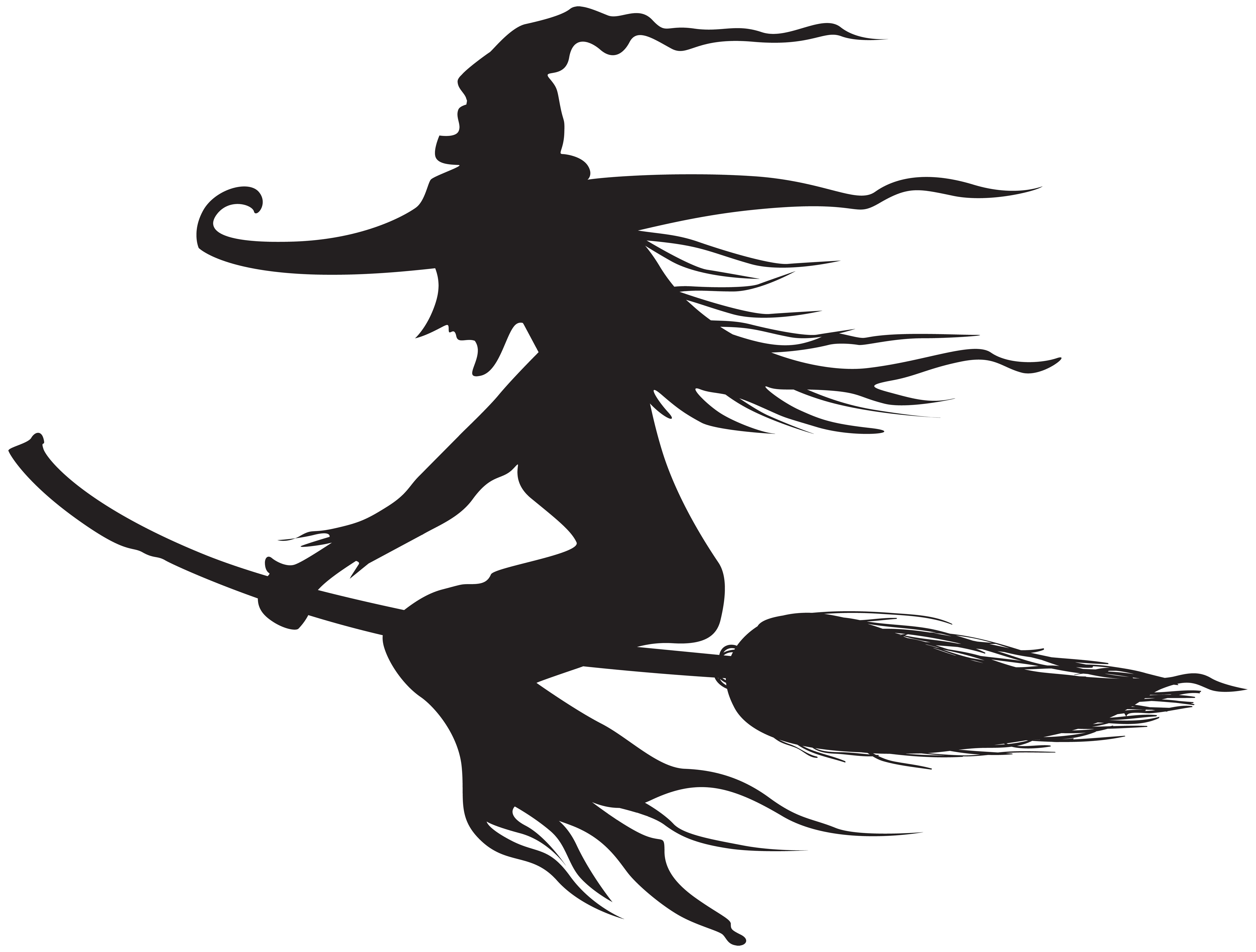 Halloween Witch Silhouette PNG Clip Art.