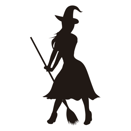 Young lady witch silhouette.