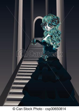 Vector Clip Art of Gothic Stairs and Witch.