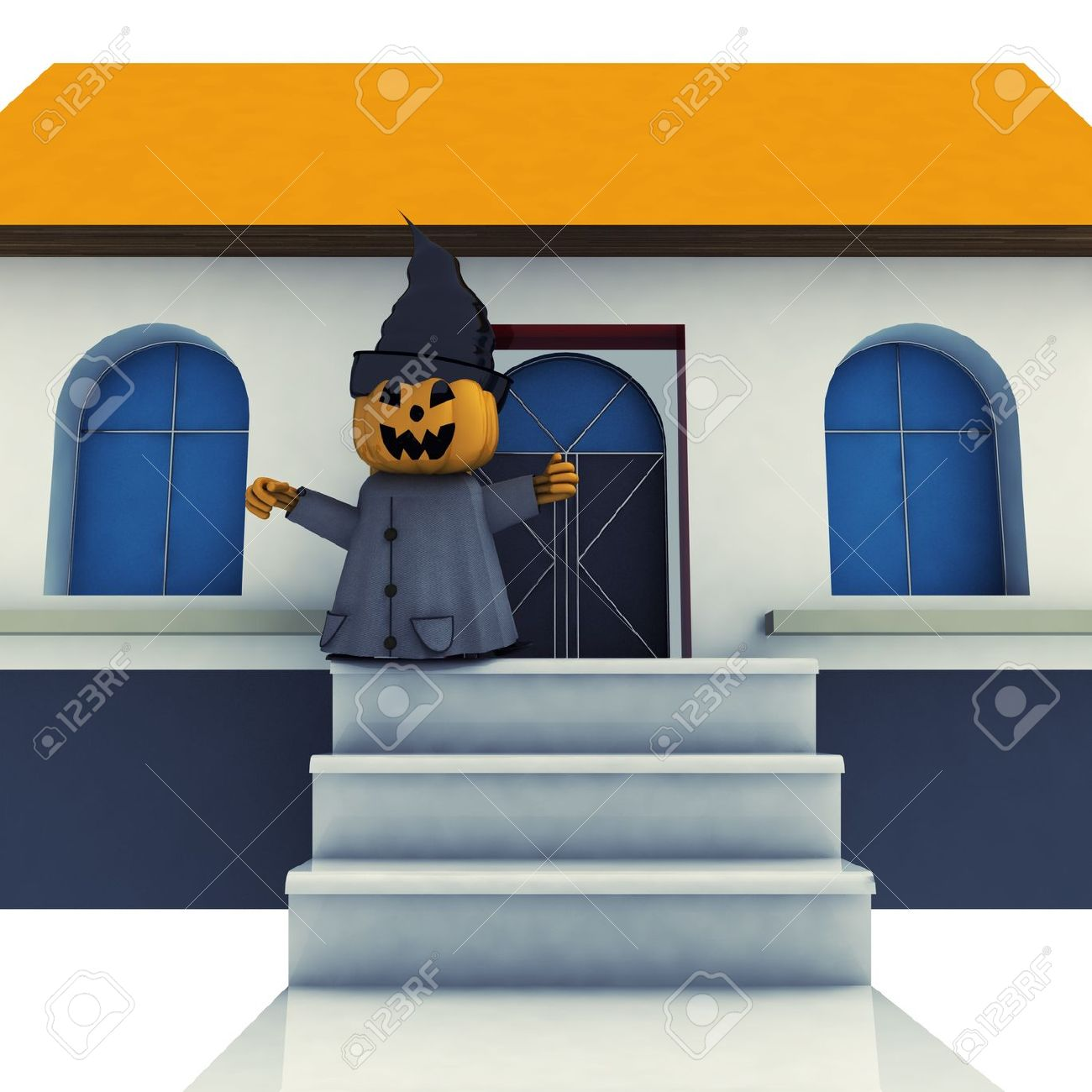 Isolated Halloween Pumpkin Witch On House Stairs Background.