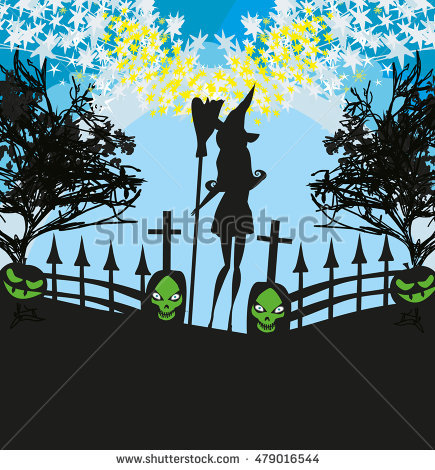 Illustration Witch Cemetery Stock Illustration 478689307.
