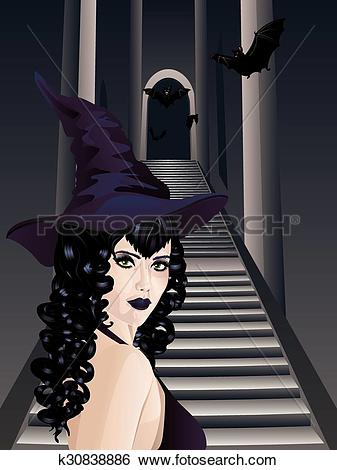 Clip Art of Gothic Stairs and Witch k30838886.