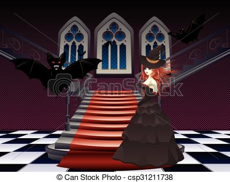 Vectors of Gothic Stairs and Witch.