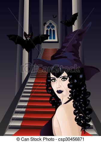 Vectors Illustration of Gothic Stairs and Witch.