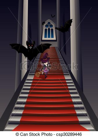 EPS Vector of Gothic Stairs and Witch.