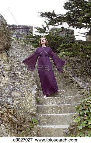 Picture of robe, portrait, religion, occult, stairs, stone, witch.