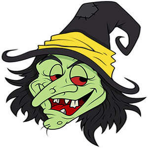 Green Witch Face Clipart.